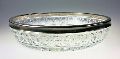 International Silver Plate Lead Crystal Divided Snack Bowl Relish Dish