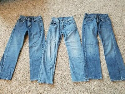 Lot of 3 Pairs of LEVI'S Boys Jeans 14 Slim 25x27 - GUC