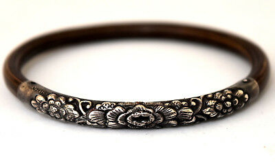Antique Chinese Sterling Silver and Bamboo Floral Bracelet/Bangle