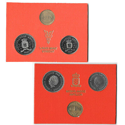 NETHERLANDS ANTILLES  1 /& 2-1//2 GULDEN MINT YEAR SET 1980 2 Coins Token B8