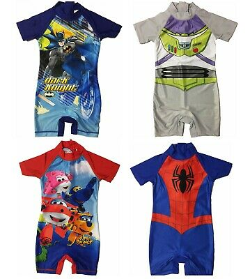 Boys Toy Story, Batman, Spiderman Superwings Sunsuit Swimsuit Swimwear