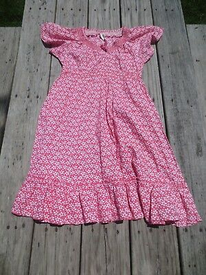 Mini Boden ~ Girls Pink and White Floral Summer Dress ~ Size 9-10