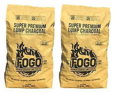Double Pack of Lump Charcoal - Fogo Super Premium Hardwood Lump 2 x 17.6lbs Bags