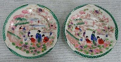 "Two vintage Asian hand painted small 6"" old Japan porcelain plates FREE S/H"
