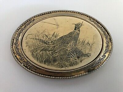 Belt Buckle Barlow Photo Reproduction Pheasant Silver Bird Hunting 592116 n NEW