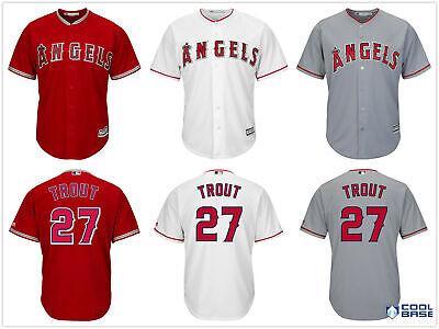 c3add16c Men's Los Angeles Angels of Anaheim #27 Mike Trout Cool Base Jersey  White/Red