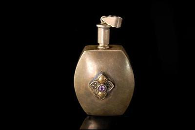 Antique Art Deco Sterling Amethyst Glass Miniature Perfume Bottle Pendant A20111