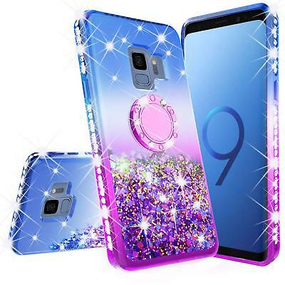 Samsung S9 Bling Liquid Glitter Ring Shock Proof Tpu Case Kickstand