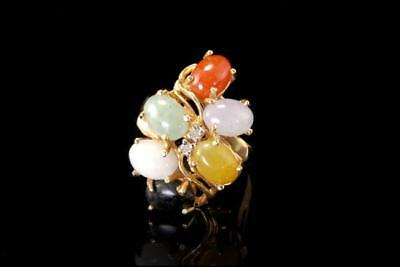 Vintage Chinese Multicolor White Green Yellow Jade Diamond 14K Gold Ring D89-06