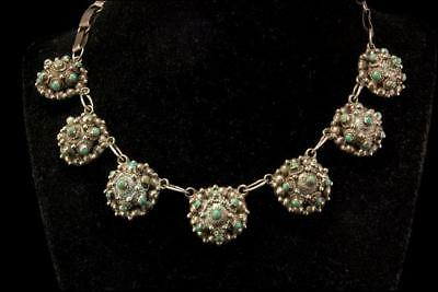 Vintage Taxco Mexican Green Turquoise Silver Necklace D66-05