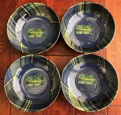 TOMMY BAHAMA Tartan Plaid 4pc MELAMINE BOWLS Blue Green CHRISTMAS Cereal Soup