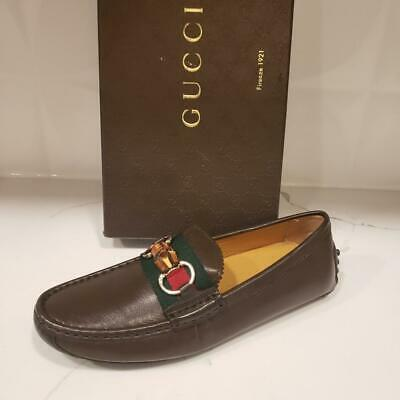 8b331c8a4 Gucci Brown Leather Web Stripe Bamboo Horsebit Driver Moccasin Loafer Shoes  $480