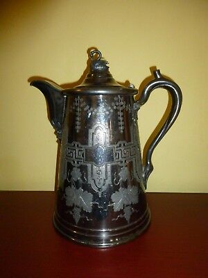 Antique Victorian Double Wall Silverplate Water Pitcher Meriden Britannia 1858