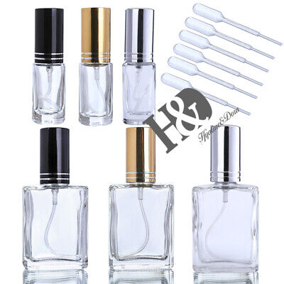 Set 6 Clear Glass Refillable Empty Perfume Bottle Spray For Wedding Gift 3 Color