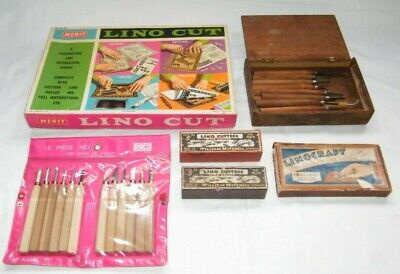 Vintage Lino Artist Cutting Tools Job Lot 30 + Tools