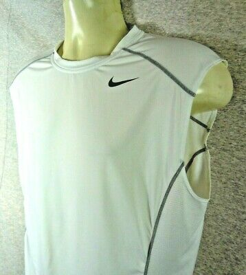 1d912c61059ee AWESOME NIKE PRO COMBAT DRI FIT SLEEVELESS FITTED SHIRT MEN S White size XL