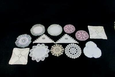 Lot Of 13 Vintage Handmade Crochet Doilies Embroidered Delicate Round Square