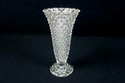Elegant Clear Pressed Glass Fluted Vase Sawtooth Rim Diamond Pattern Footed 8.5""