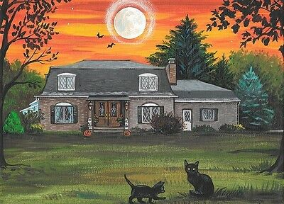 Aceo Print Of Painting Ryta Halloween Landscape Black Cat Haunted House Autumn
