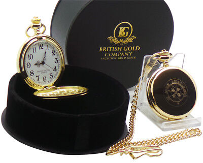 ST JOHNS AMBULANCE BRIGADE LUXURY Gold Pocket Watch and Chain Gift Case MEDICAL