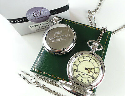 HM PRISON Crested Silver Pocket Watch Jail Warden Officer Luxury Gift Case