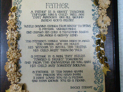 "Vintage Wall Art ""Father"" Poem by Becky Street Walnut Plaque Floral Border"
