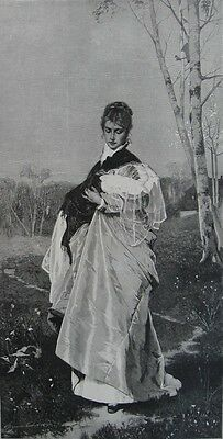 1890 Three Large Engravings - BEAUTIFUL YOUNG MOTHERS - Baby's First Outing