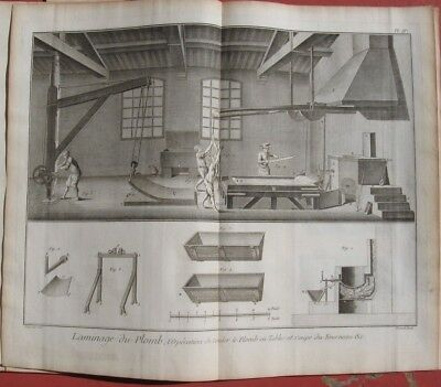 "1765 DIDEROT - Double-Folio Engraving - Lead Rolling Shop - ""Laminage Du Plomb"""