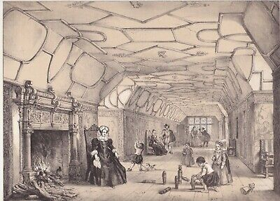1872  Two Antique Lithographs - Knole House, Kent - Upper Gallery & Staircase
