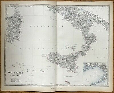 1861 Double-Page Antique Map - SOUTH ITALY & SARDINIA - Naples - A.K.Johnston