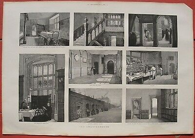 1886 Two Large Engravings - LONDON CHARTERHOUSE - Merchant Taylor's School