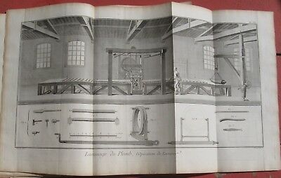 "1765 DIDEROT - Double-Folio Engraving - Lead Roll Sizing - ""Laminage Du Plomb"""