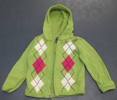 Girl's Size 2 Years Baby Gap Long Sleeve Sweater Hoodie Top Light Green, Cotton