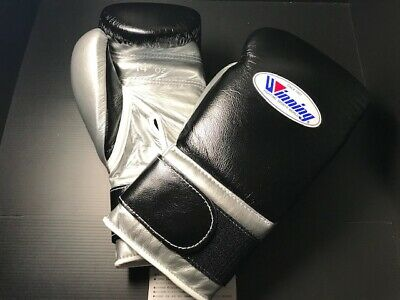 WINNING BOXING GLOVES Black 16 OZ Pro Type Tape Fasten