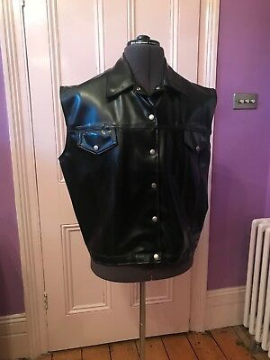 Ectomorph Mens Black Latex Rubber Sleeveless Waistcoat  Size L