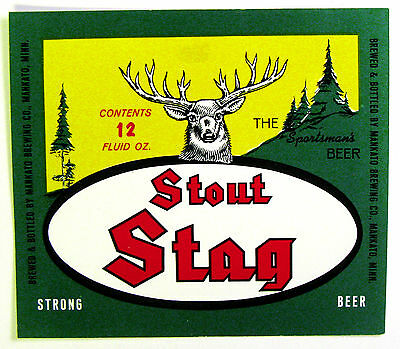 Mankato Brewing Co STAG STOUT - STRONG BEER paper beer label MN 12oz