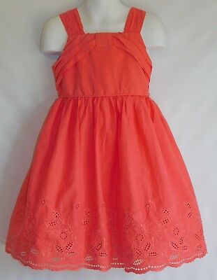 Rare Editions Girls Sun Dress Eyelet Lace, Pleated Detail CanCan Slip Coral Sz 5