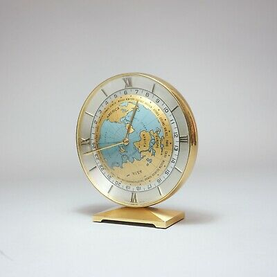 Imhof World Time Desk Clock Welt Uhr 1955 Rhodium-plated 15 Jewels Messing 1.Z