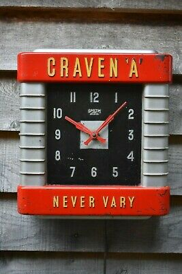 Rare Vintage Craven A Advertising Smiths Bakelite Wall Clock 1930s Working!