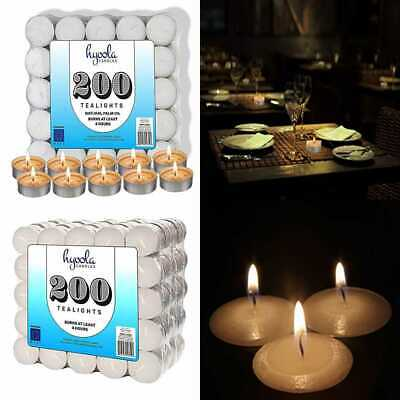 European Quality White Unscented Tealight Candles Natural Palm Oil Tea Light 4 Hour Burn Time 200 Bulk Candles Pack Hyoola Tea Lights Candles