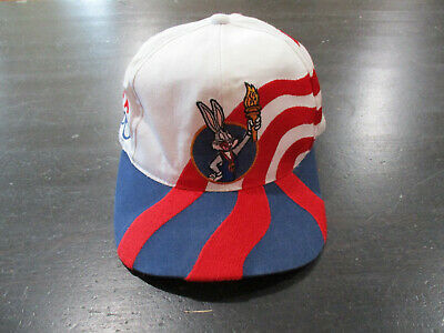 3c26d4b62f0c VINTAGE Olympics Bugs Bunny Snap Back Hat Cap White Blue USA Looney Tunes  90s