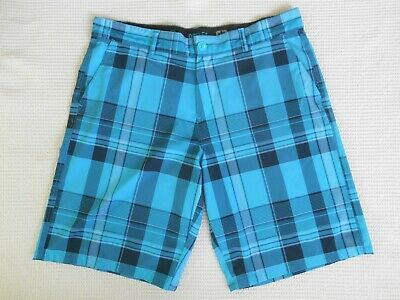 64f9a0e8a9 New OPFlex Ocean Pacific Men's Size 36 Blue Plaid 4-Way Stretch Polyester  Shorts