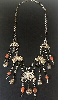 Antique Chinese Silver Presentation Charm Necklace