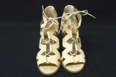 6cf1eee83589 Charlotte Russe Women s Nude Lattice Lace Up Cut Out Chunky Heel Open Toe  Sz 6