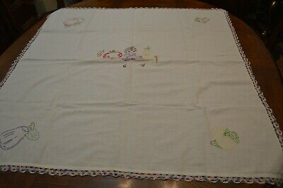 Vintage Ecru linen Tablecloth Embroidery Gal With Vegetables Lovely