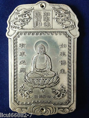 Old Chinese tibet Silver rulai Buddha Bullion thanka amulet thangka