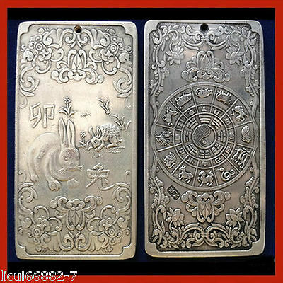 Old Chinese tibet Silver Chinese Zodiac rabbit Bullion thanka amulet thangka