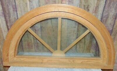 Unfinished  Arched Half Moon Wood Window ~ Architectural