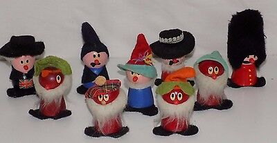 Lot of Decorated Peg People Doll Gnome Pirate Guard Detective Scotsman