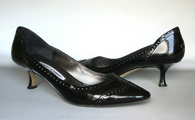 5f5a015a29 Manolo Blahnik Black Wingtip Patent Leather 39.5 Kitten Heel Pumps Spectator
